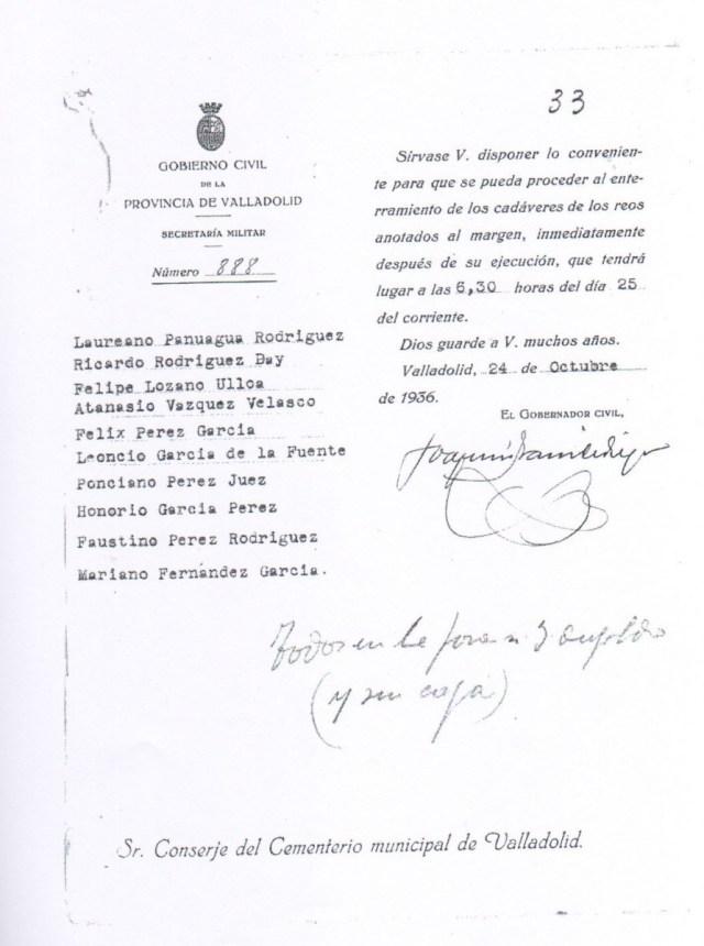 Documento: Orden del Gobernador