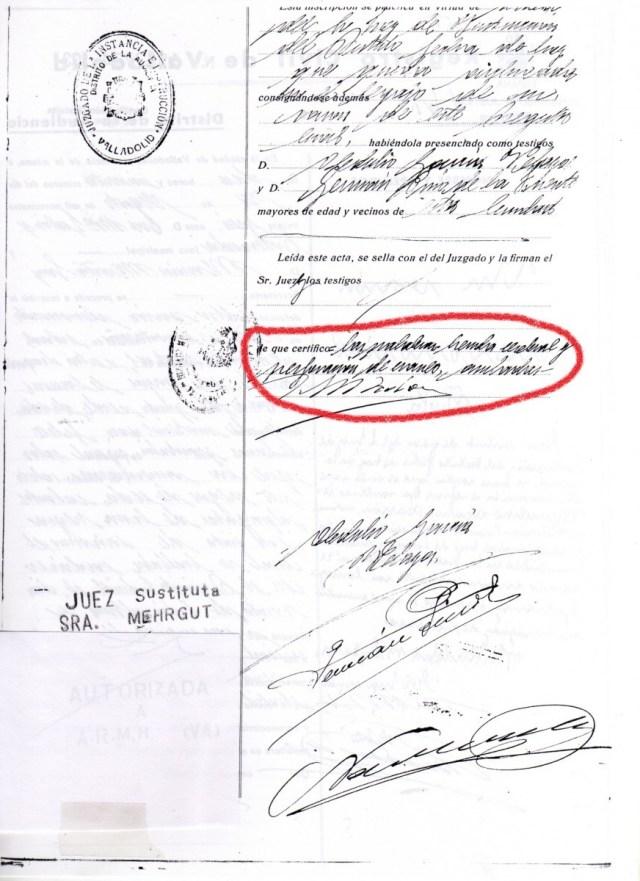 Documento: Registro Civil causa de la muerte tachada 1 y 2