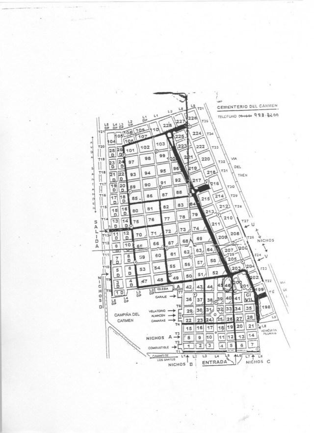 Plano del cementerio de El Carmen en Valladolid.